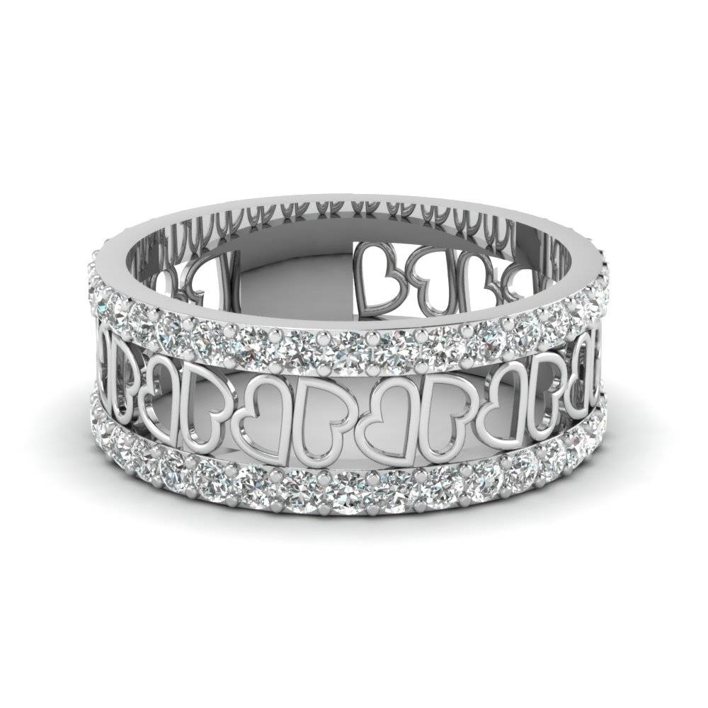 O X Design Diamond With Emerald Wedding Band In 14k White Gold Inside Wide Wedding Bands For Her (View 15 of 15)
