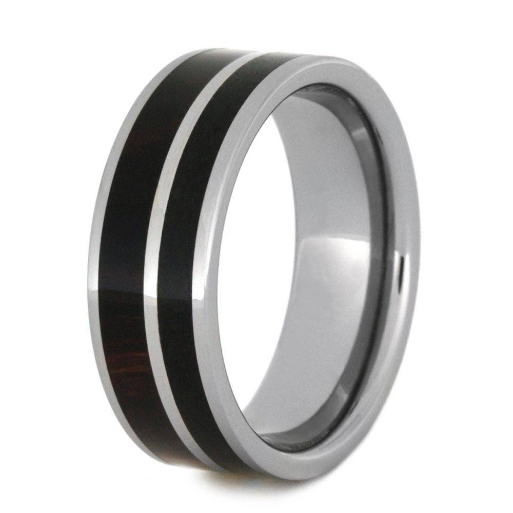 Obsidian Ring In Tungsten With Ironwood Complement With Regard To Obsidian Wedding Bands (View 5 of 15)