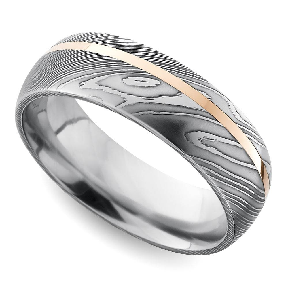 Offset Rose Inlay Domed Men's Wedding Ring In Damascus Steel Inside Damascus Mens Wedding Bands (View 14 of 15)