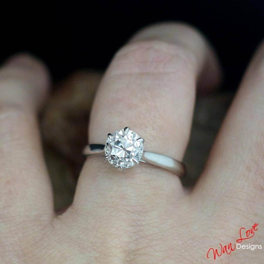Old European Cut Oec Engagement Ring Cz Cubic Zirconia Solitaire Pertaining To 10K Gold Cubic Zirconia Engagement Rings (View 14 of 15)
