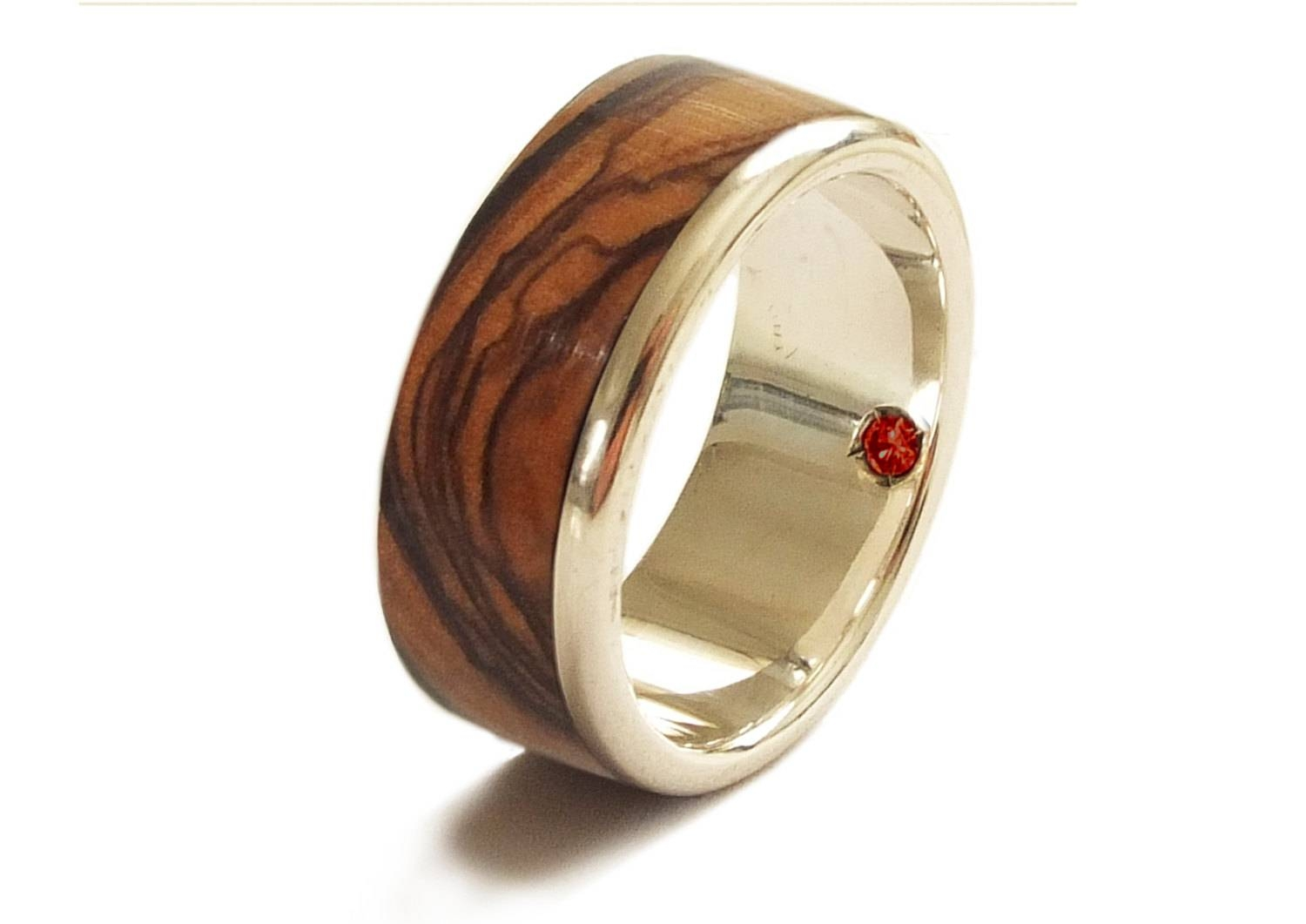 Olive Wood Ring In Sterling Silver And Garnet Wedding Band Throughout Men's Garnet Wedding Bands (View 6 of 15)