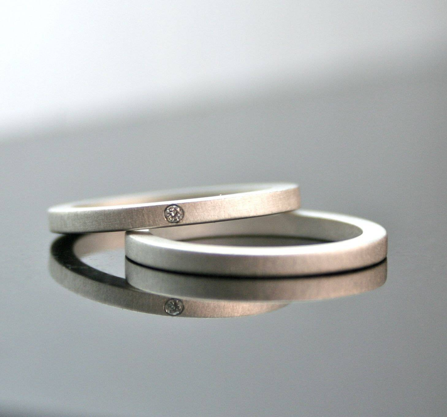 One Tiny Diamond Ring Set Simple Wedding Rings Sterling In Contemporary Wedding Rings (Gallery 15 of 15)