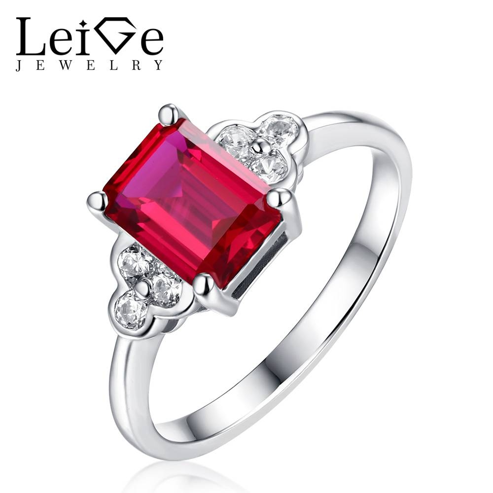 Online Get Cheap Emerald Cut Ruby Engagement Ring Aliexpress Intended For Ruby Engagement Rings For Women (Gallery 9 of 15)