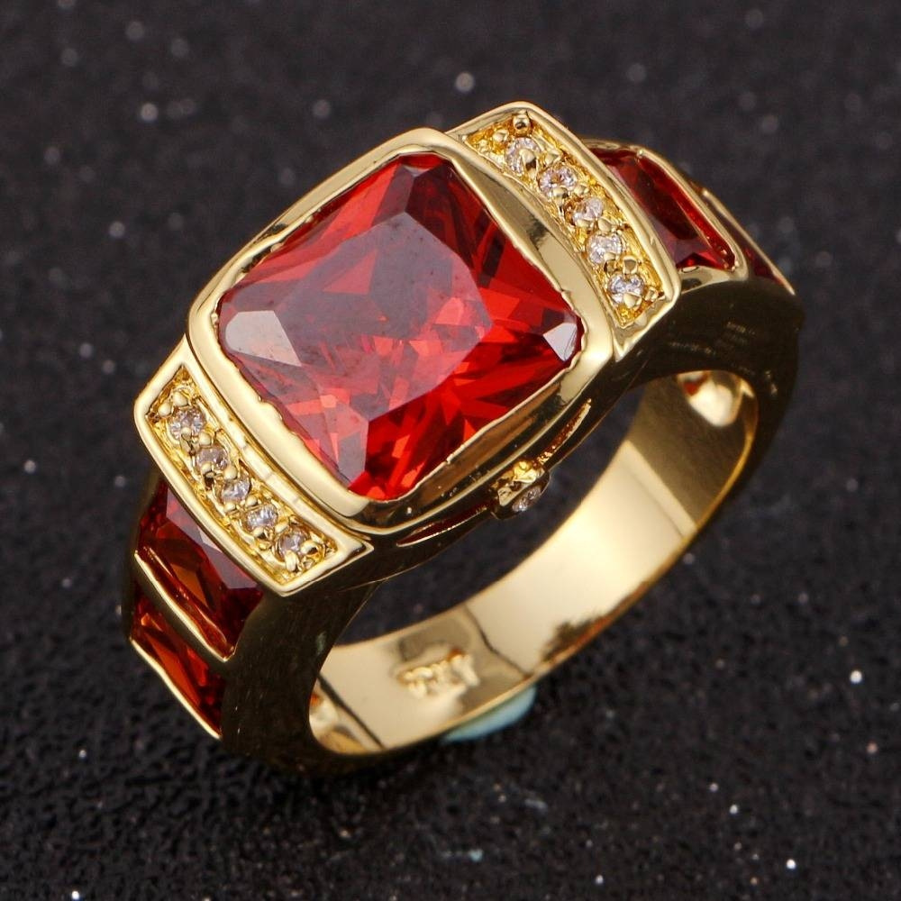 Online Get Cheap Men's Gold Wedding Band  Aliexpress Regarding Men's Garnet Wedding Bands (View 8 of 15)