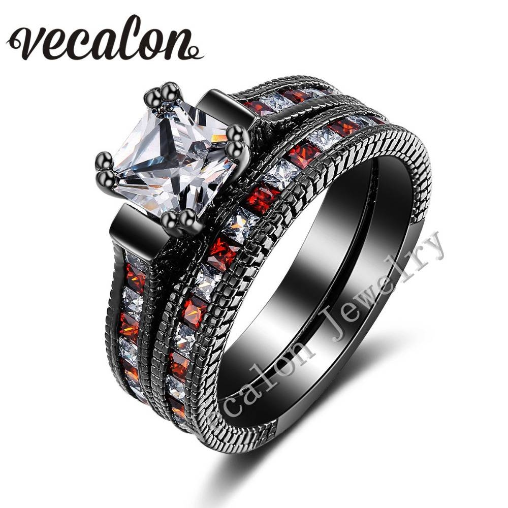 Online Get Cheap Red Gold Engagement Rings  Aliexpress In Black Gold Diamond Wedding Rings (View 13 of 15)