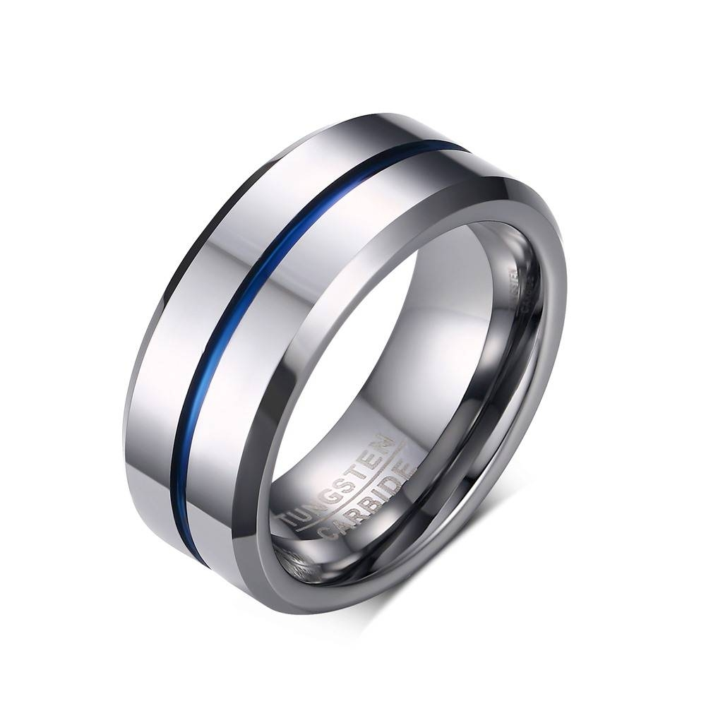Online Get Cheap Tungsten Blue Ring  Aliexpress | Alibaba Group With Regard To Thin Blue Line Wedding Bands (Gallery 15 of 15)