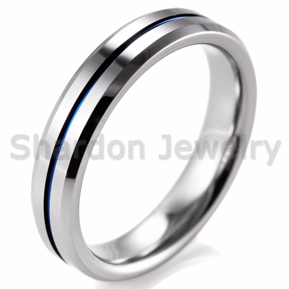 Online Shop Shardon Lover's Beveled Tungsten Carbide High Polished Inside Blue Line Engagement Rings (Gallery 8 of 15)