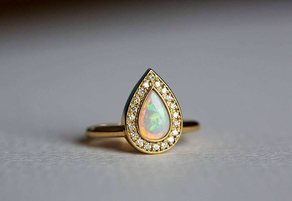 Opal Engagement Ring Gold Engagement Ring Pear Engagement Throughout Etsy Vintage Wedding Bands (View 7 of 15)