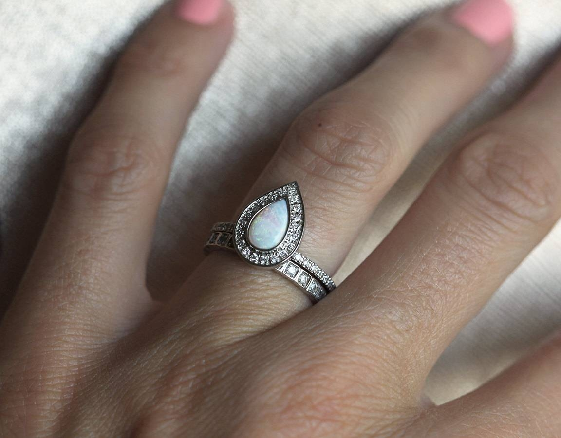 Opal Engagement Ring Opal Halo Diamond Ring Pear Halo Pertaining To Wedding Band For Pear Shaped Engagement Rings (Gallery 10 of 15)