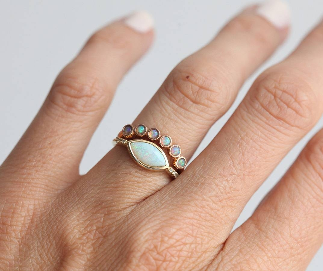 Opal Ring Opal Wedding Ring Opal Wedding Band Rose Gold With Opal Wedding Bands (View 12 of 15)