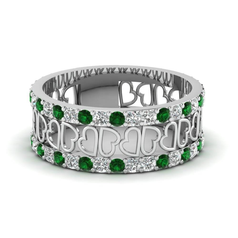 Open Heart Diamond Wide Band For Women Emerald In 14K White Gold Regarding Unique Womens Wedding Bands (View 7 of 15)
