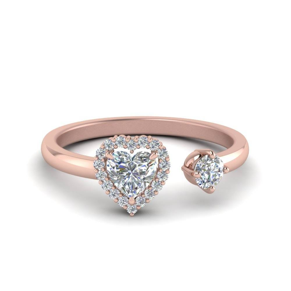 Open Wrap Heart Diamond Engagement Ring In 14K Rose Gold Regarding Wrap Rings Wedding Bands (View 6 of 15)