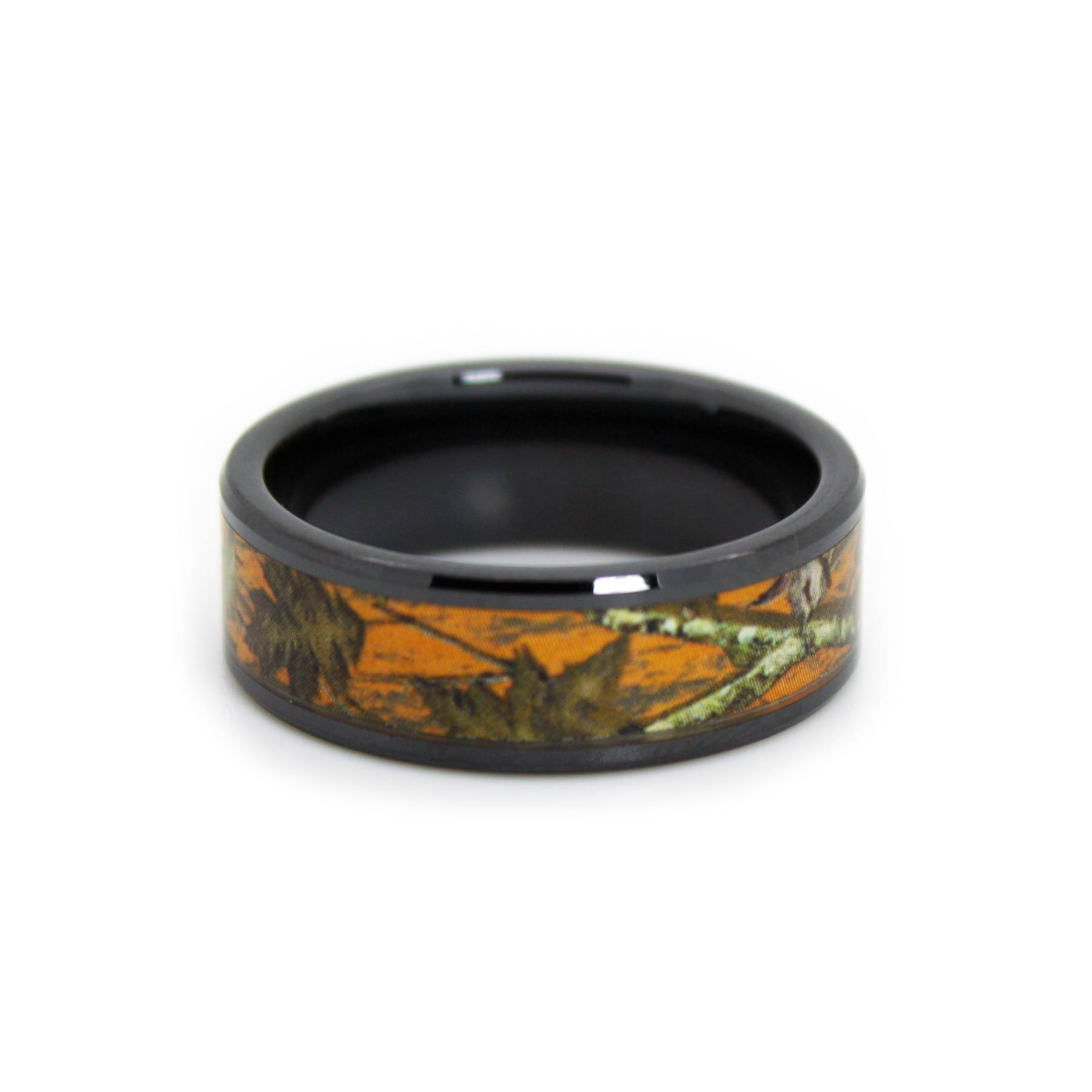 Orange Camo Wedding Rings, Hunting Blaze Orange Camo Band – 1camo Throughout Camouflage Wedding Bands For Him (View 15 of 15)