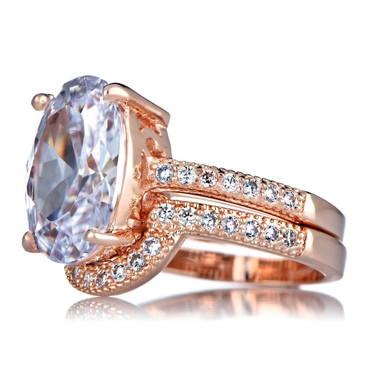 Oval Cut 5 Carat Rose Goldtone Cz Wedding Ring Set In Rose Gold Wedding Bands Sets (View 13 of 15)