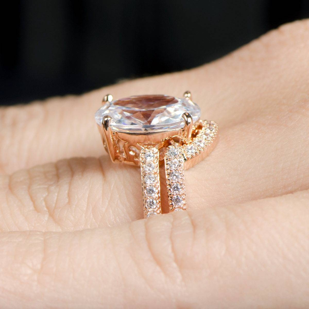 Oval Cut 5 Carat Rose Goldtone Cz Wedding Ring Set With Regard To Oval Wedding Rings Sets (Gallery 3 of 15)