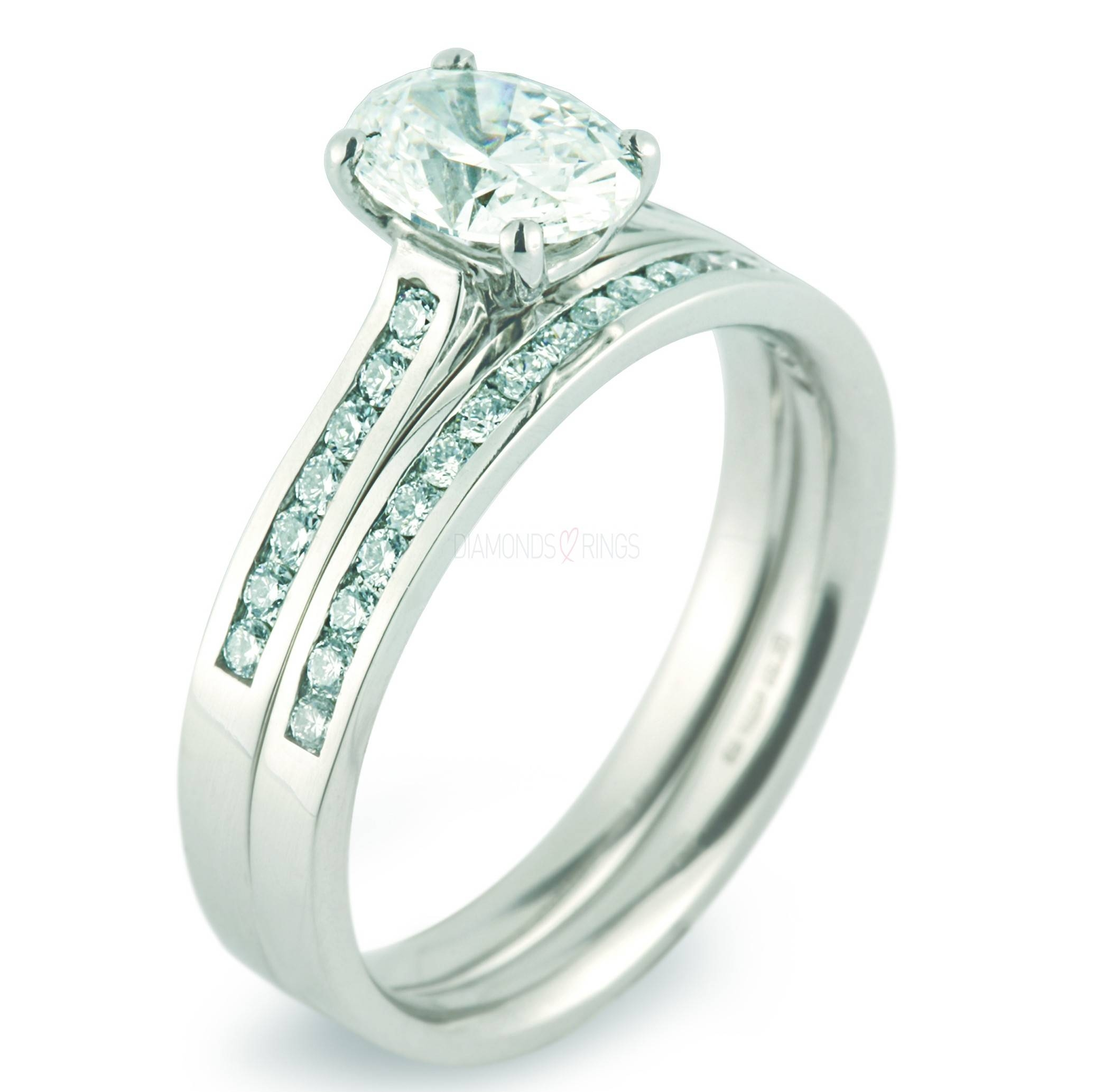 Oval Cut Bridal Set With Diamond Shoulders And Channel Set Wedding Within Wedding Rings With Diamonds (Gallery 3 of 15)