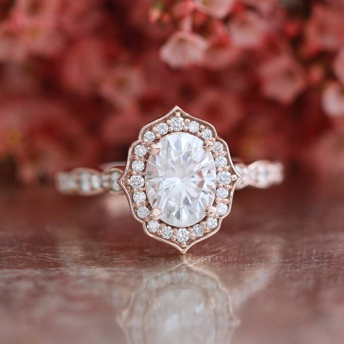 Oval Cut Forever One Moissanite Vintage Floral Engagement Ring Within Etsy Vintage Wedding Bands (Gallery 15 of 15)