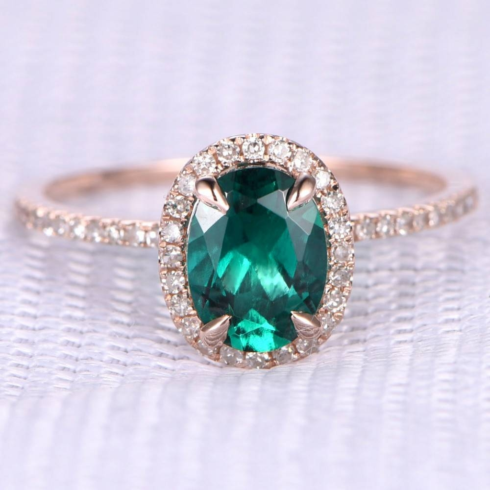 Oval Cut Lab Emerald And Diamond Engagement Ring 14K Rose Gold Inside Oval Emerald Engagement Rings (View 5 of 15)