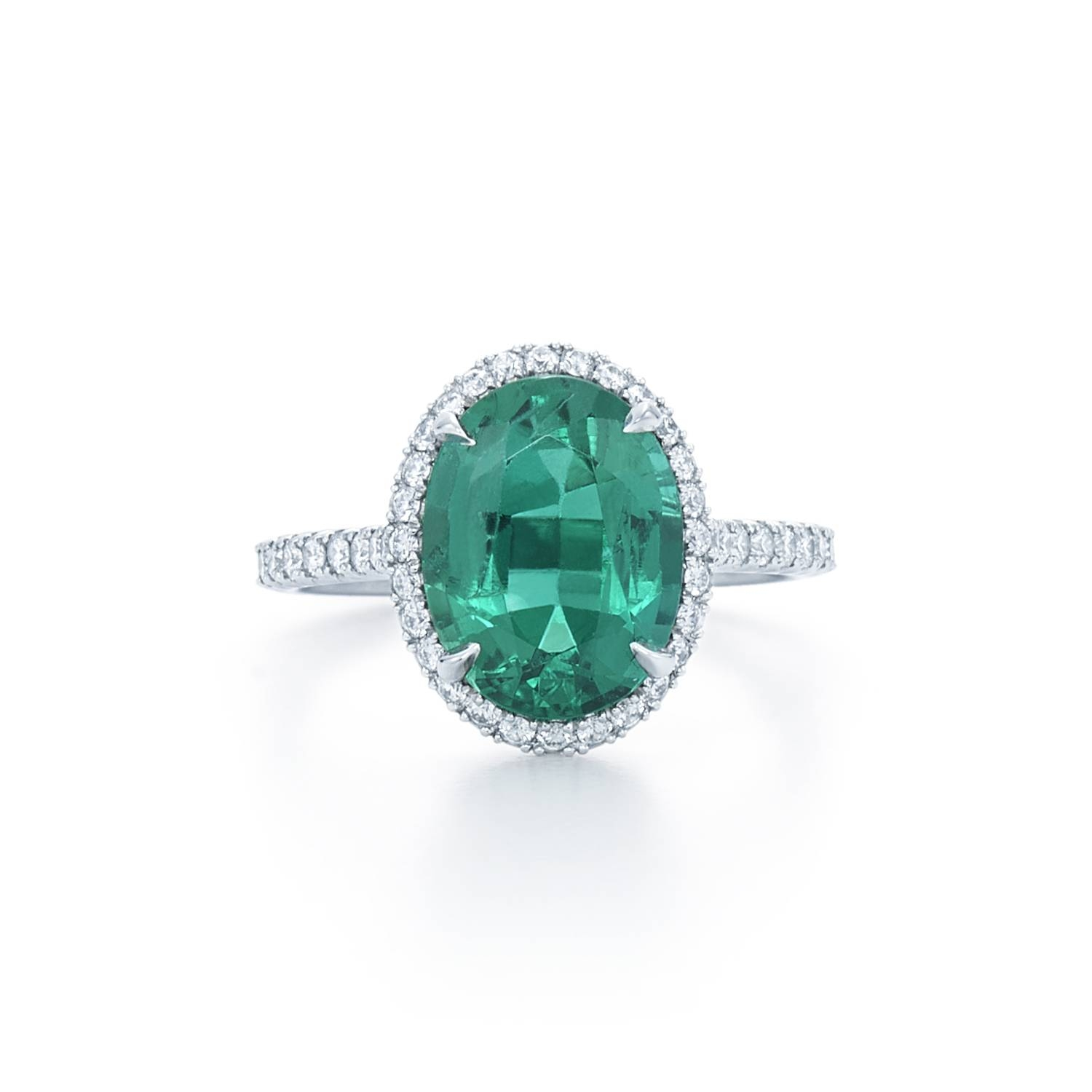 Oval Emerald Ring With Pave Diamond Halo. Set In Platinum (View 6 of 15)