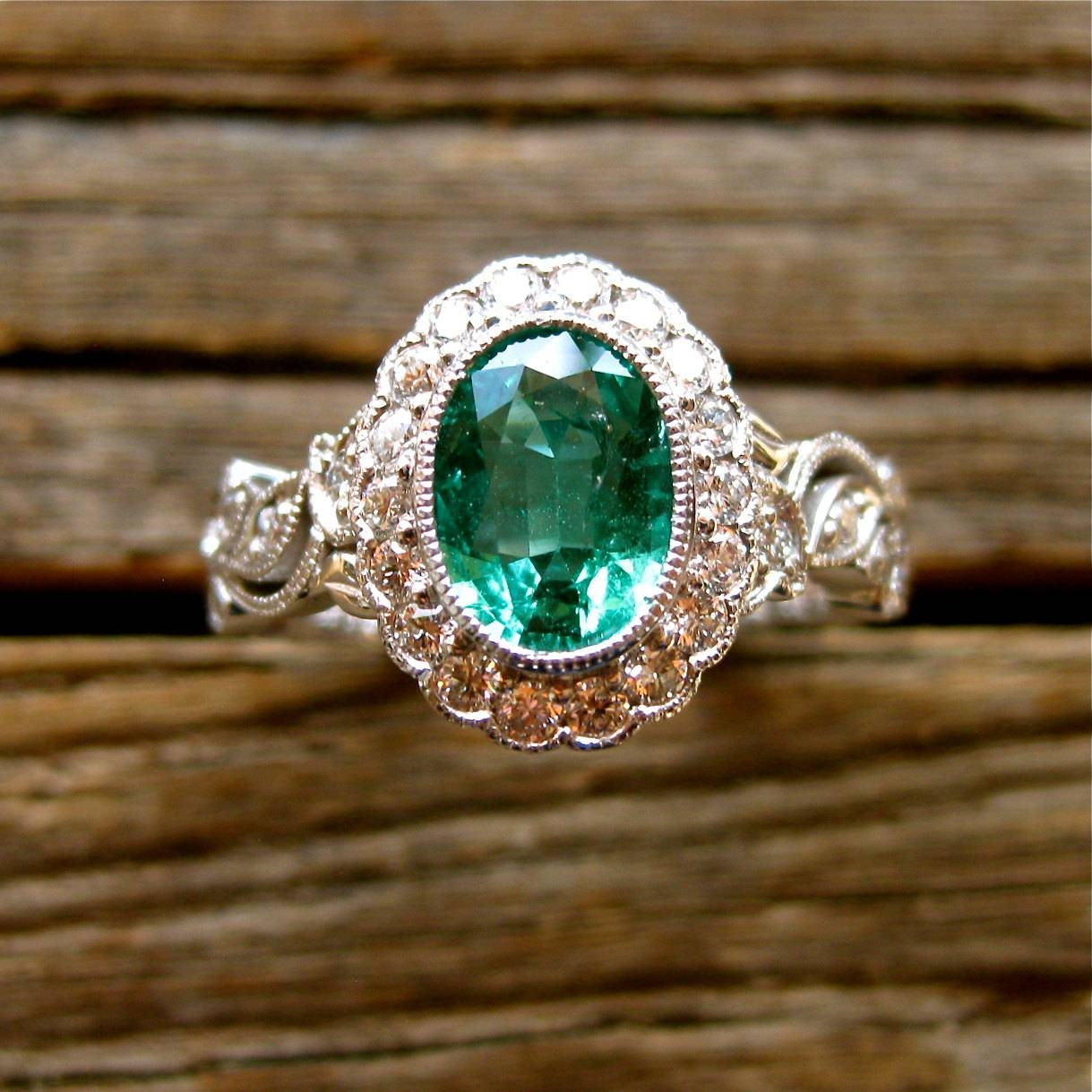 Oval Green Emerald Engagement Ring In 14K White Gold With Regarding Oval Emerald Engagement Rings (View 7 of 15)