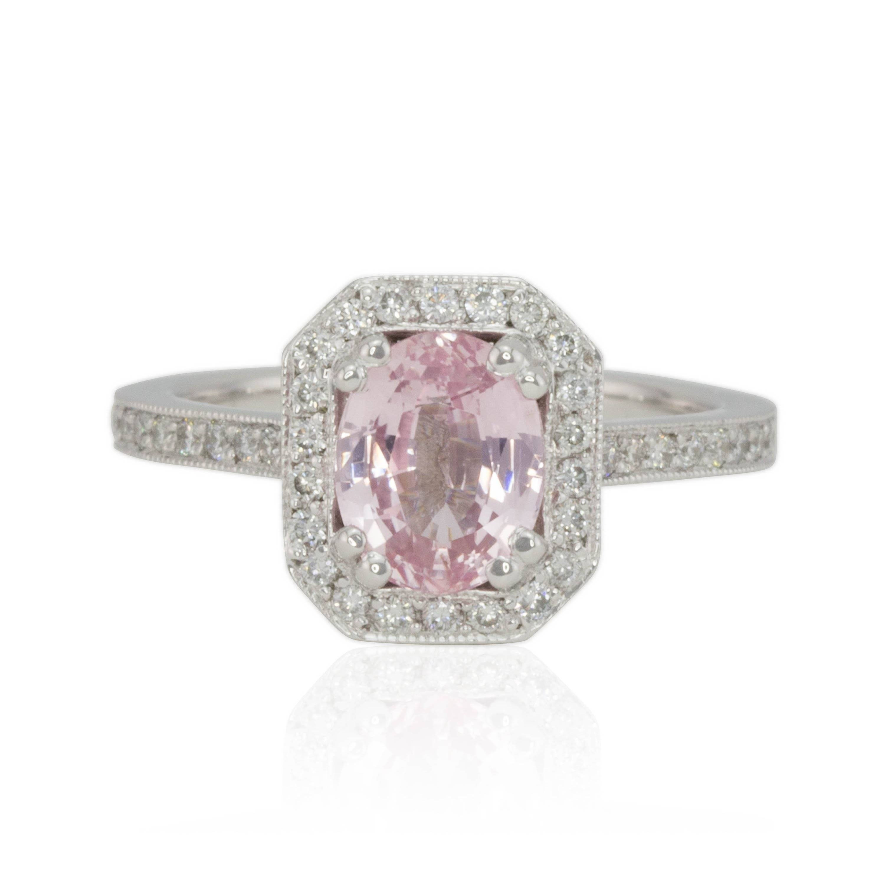 Oval Light Pink Sapphire Engagement Ring With Octagon Diamond Halo For Light Pink Wedding Rings (View 11 of 15)