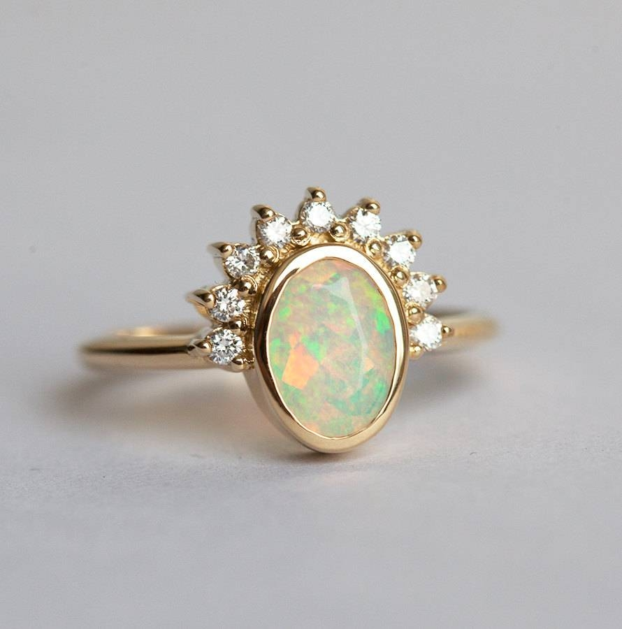Oval Opal Engagement Ring Opal And Diamonds Ring Diamond With Regard To Opal Wedding Rings (View 11 of 15)