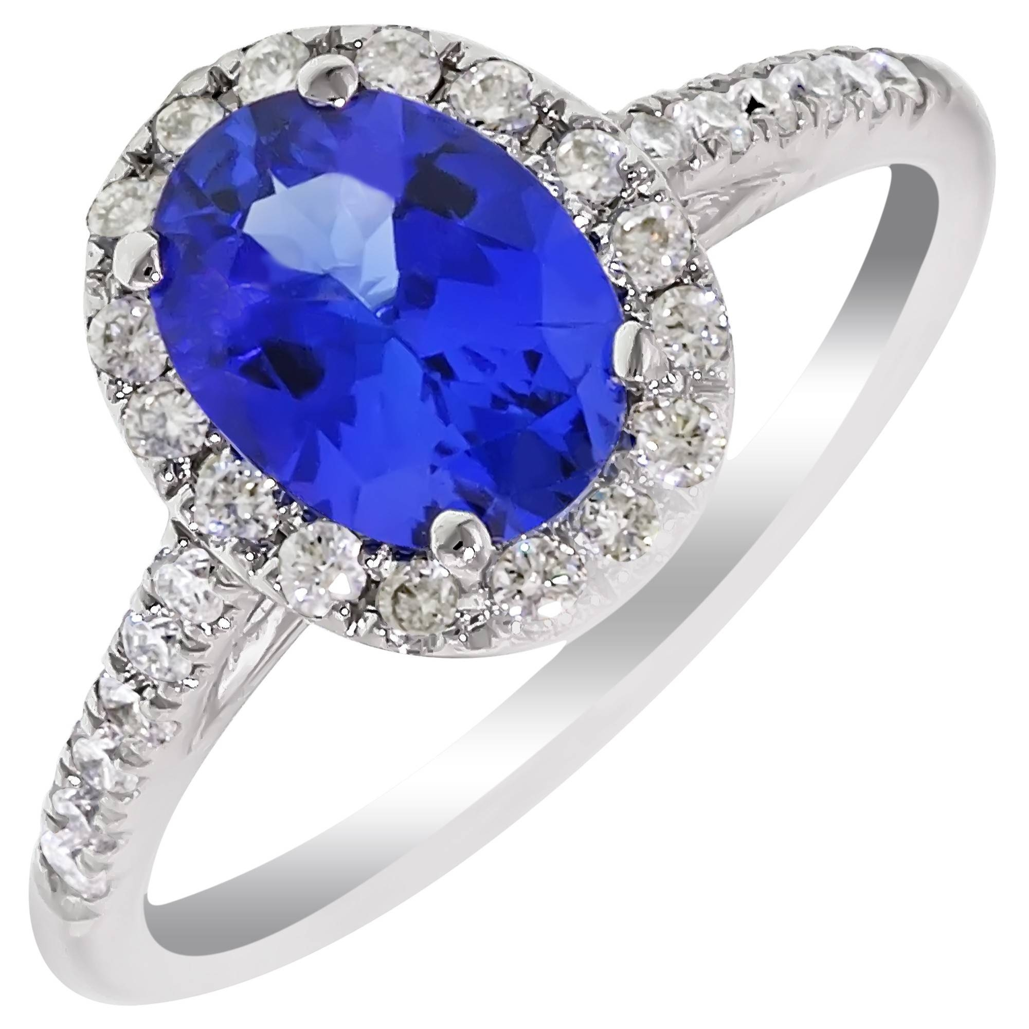 Oval Tanzanite Ring With Diamonds In 14Kt White Gold (1/3Ct Tw) Throughout White Gold Tanzanite Engagement Rings (Gallery 8 of 15)