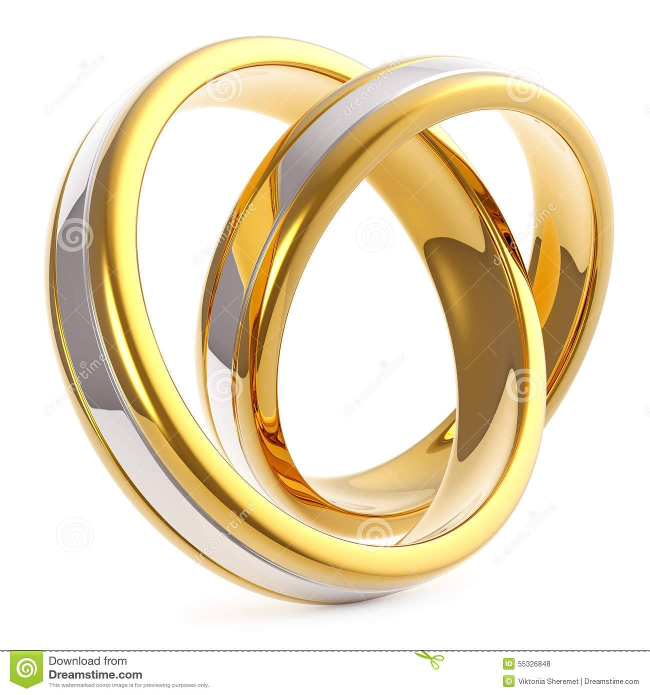 Pair Of Golden Platinum Wedding Rings Isolated On Stock For Pair Wedding Rings (View 11 of 15)