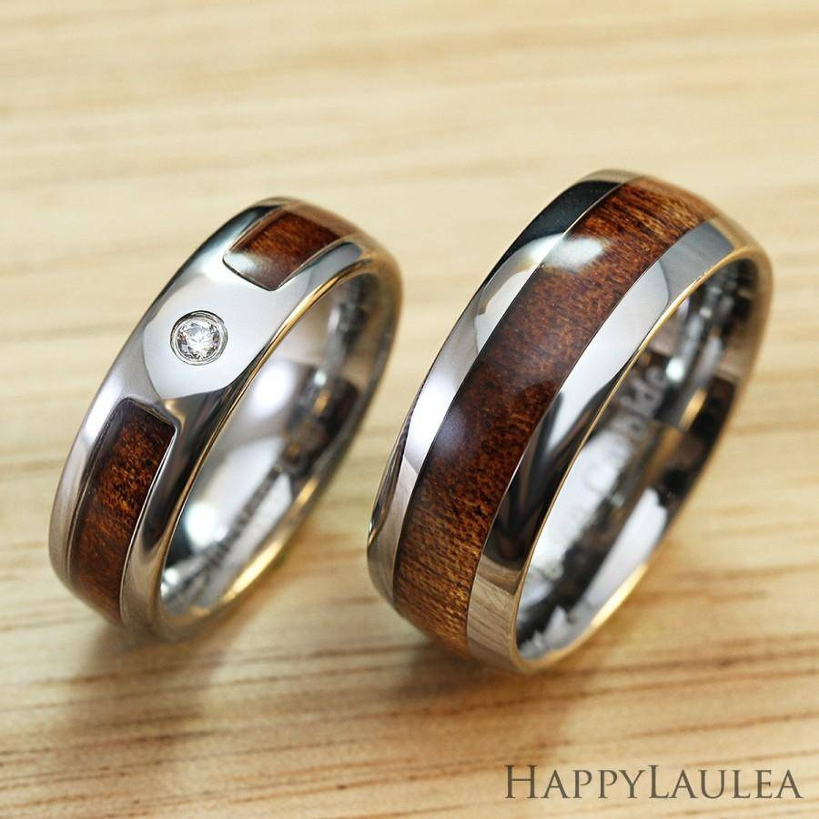 Pair Of Tungsten Carbide Ring With Hawaiian Koa Wood Inlay (6Mm With Regard To Tungsten Wedding Bands With Wood Inlay (Gallery 1 of 15)