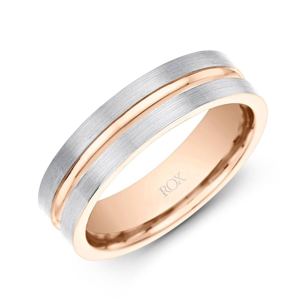 Palladium And Rose Gold Wedding Ring 6Mm | Rox Inside Gold Rose Wedding Rings (Gallery 15 of 15)