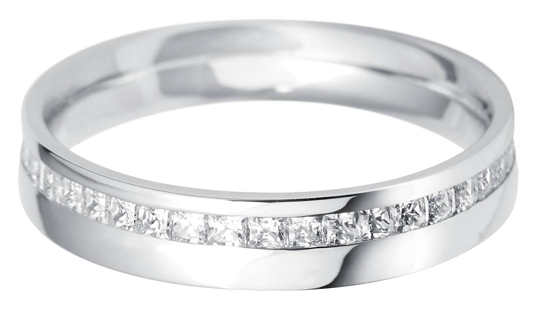 Palladium Offset Princess Cut Diamond Set Wedding Ring – Palladium Inside Palladium Wedding Rings (View 10 of 15)