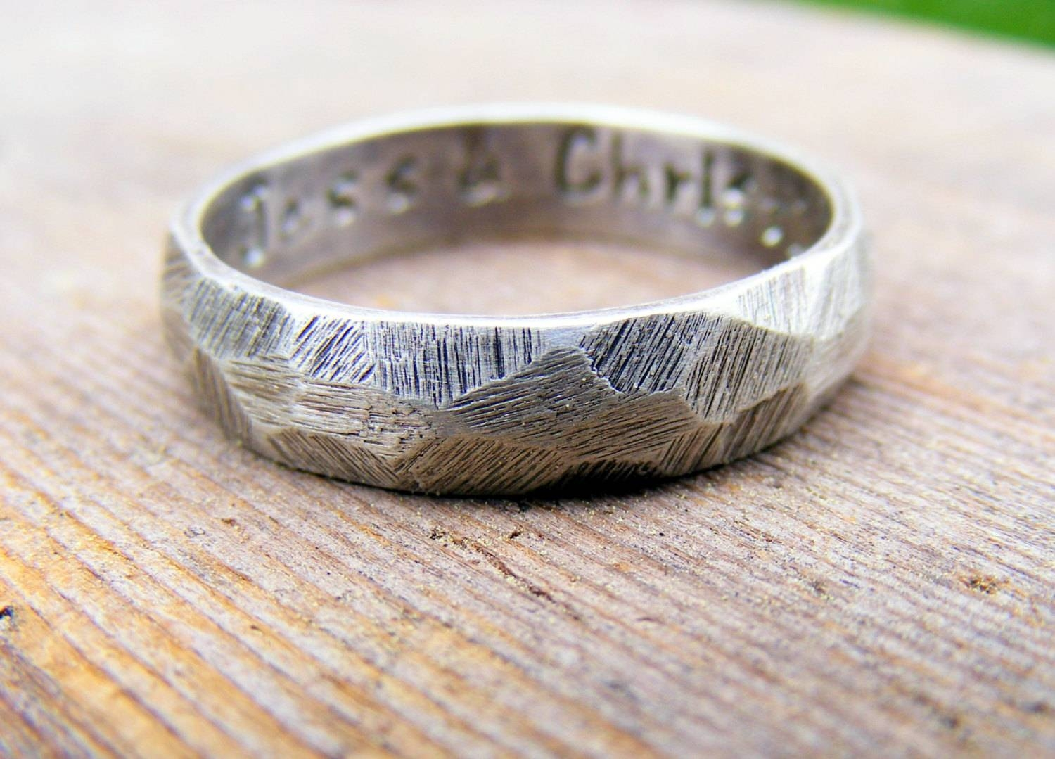 Palladium Sterling Silver Wedding Ring Mens Textured Ring In Gunmetal Wedding Bands (Gallery 10 of 15)