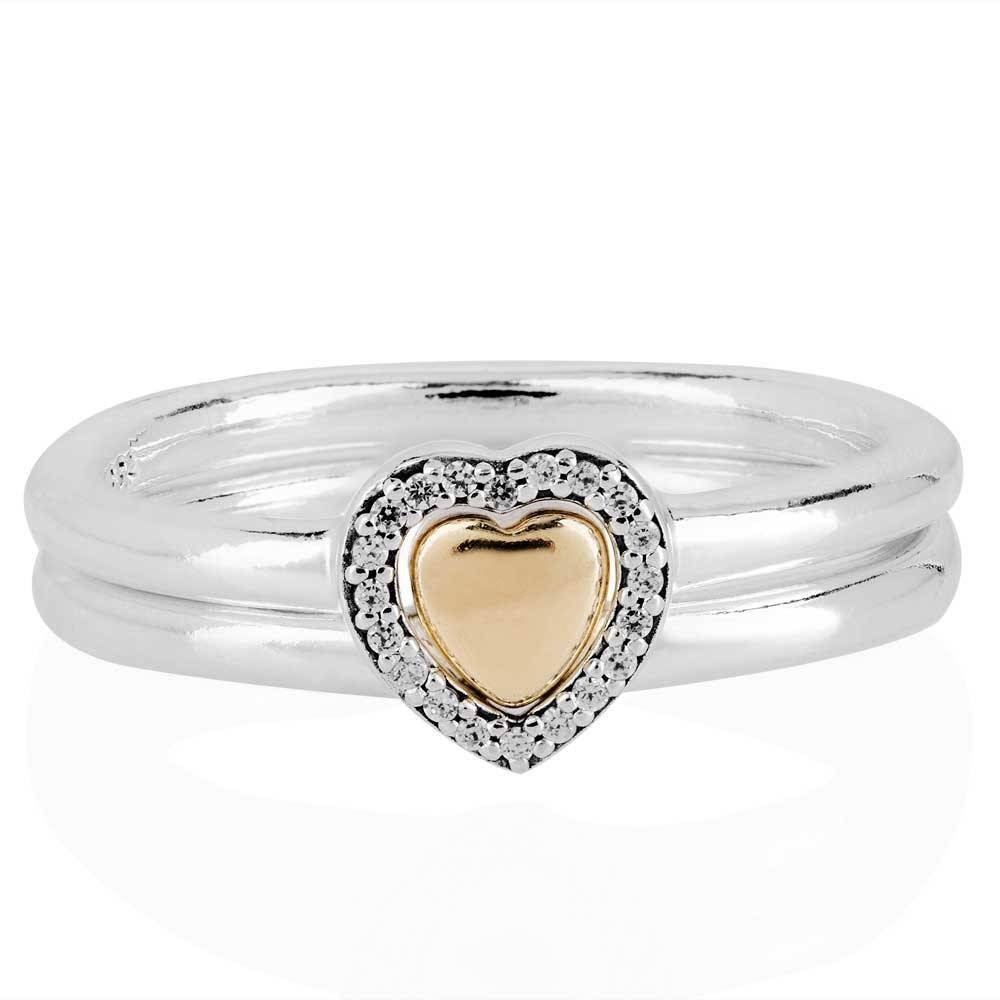 Pandora 14Ct Gold Silver Puzzle Heart Ring Set Rs016 | The Jewel Hut With Regard To Puzzle Engagement Rings (Gallery 15 of 15)