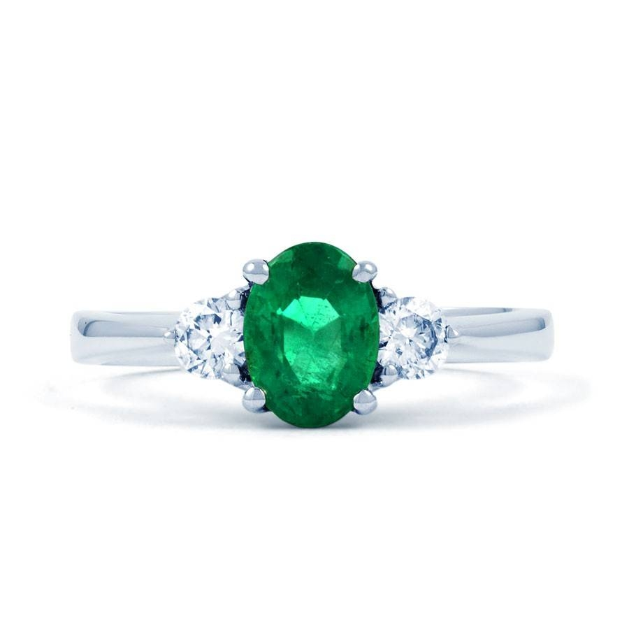 Paragon 18Ct White Gold Emerald And Diamond Engagement Ring Regarding Engagement Rings Emeralds (View 9 of 15)