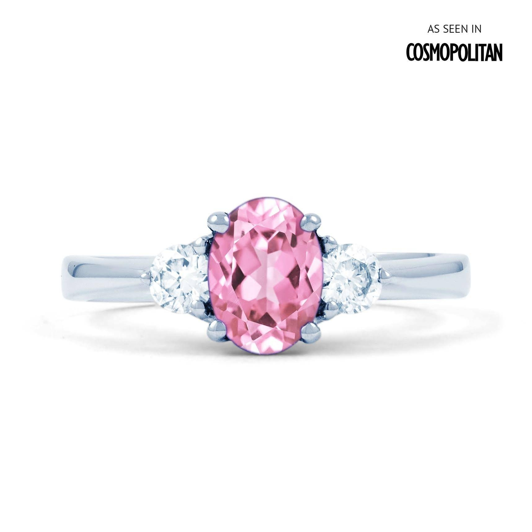 Paragon 18Ct White Gold Pink Sapphire And Diamond Engagement Ring In Pink Sapphire Engagement Rings (View 10 of 15)