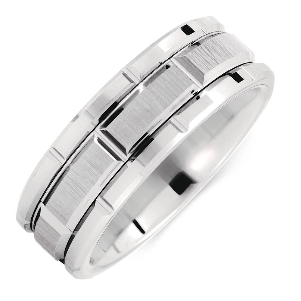 Patterned Ring In White Tungsten Pertaining To Michael Hill Mens Wedding Bands (Gallery 1 of 15)