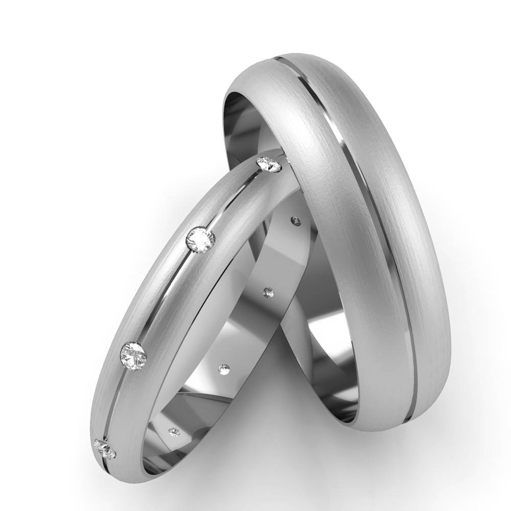 Patterned White Gold His & Hers Diamond Set Wedding Rings D Shaped Pertaining To White Gold Wedding Bands His And Hers (View 14 of 15)