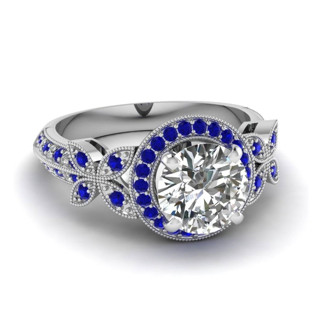 Pave Blue Sapphire Halo Engagement Rings | Fascinating Diamonds For Blue Sapphire Wedding Rings (View 10 of 15)
