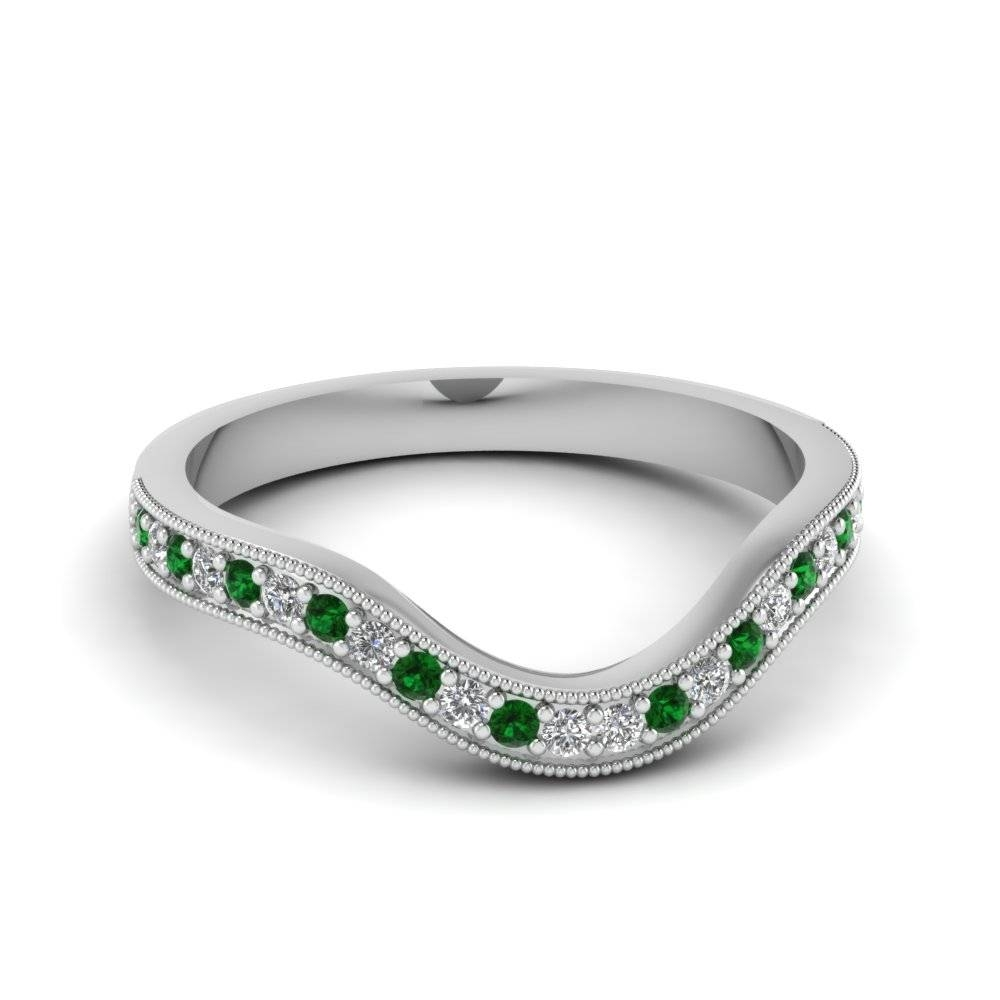 Pave Green Emerald Wedding Band | Fascinating Diamonds Intended For Emerald Wedding Rings For Women (View 9 of 15)