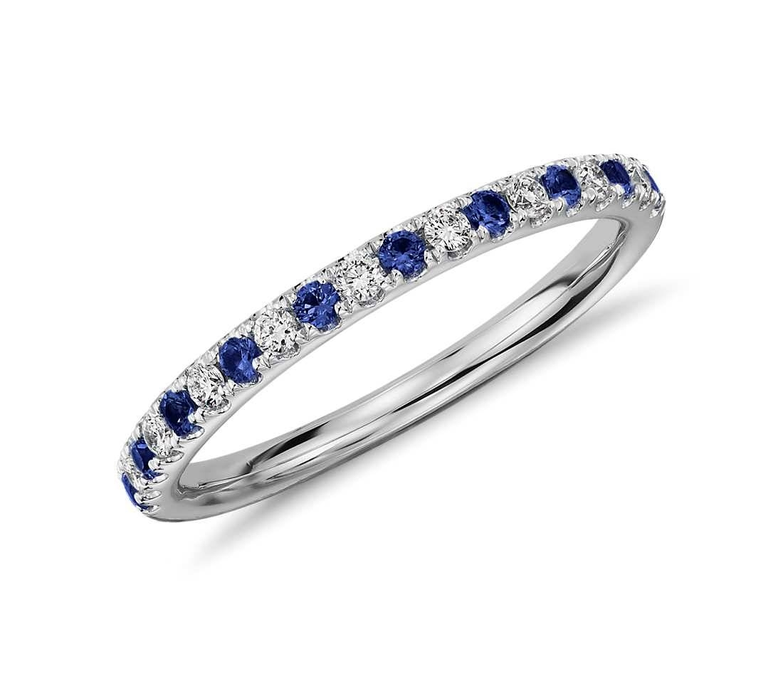 Pavé Sapphire And Diamond Ring In 18K White Gold – Tanary Jewelry Pertaining To Sapphire Engagement Rings With Wedding Band (Gallery 3 of 15)