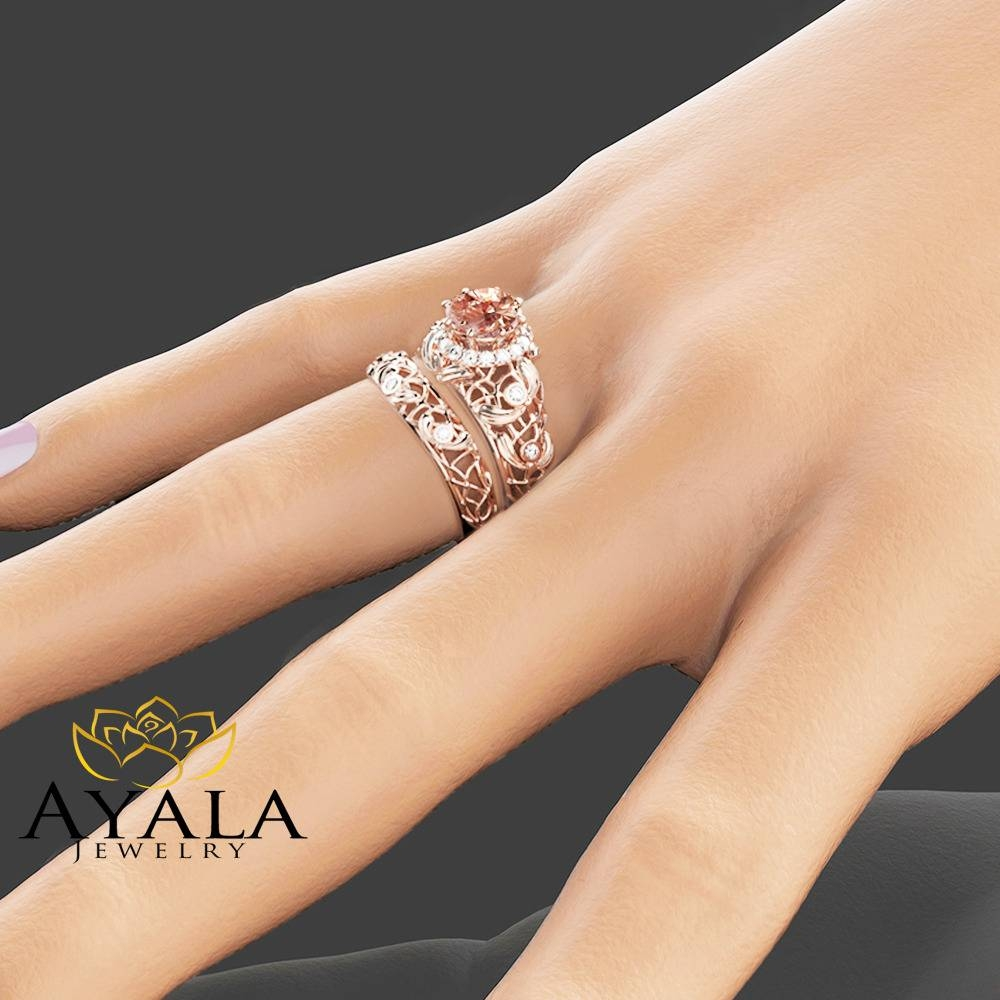 Peach Pink Morganite Engagement Ring Set Unique 14K Rose Gold Intended For Unique Wedding Rings Sets (Gallery 4 of 15)