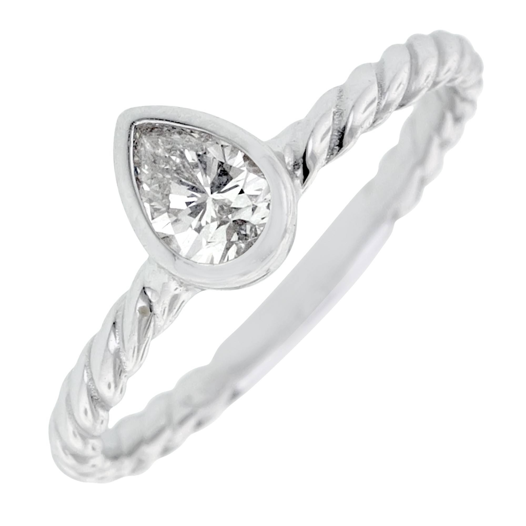 Pear Diamond Bezel Engagement Ring In 14Kt White Gold (3/8Ct) Pertaining To Pear Bezel Engagement Rings (View 11 of 15)