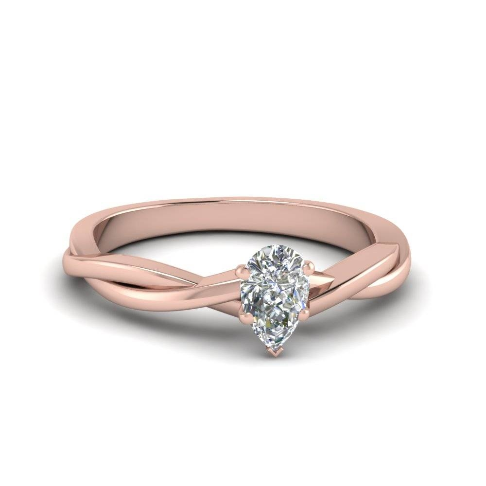 Pear Shaped Braided Single Diamond Engagement Ring In 18K Rose With Regard To Diamond Braided Engagement Rings (Gallery 4 of 15)