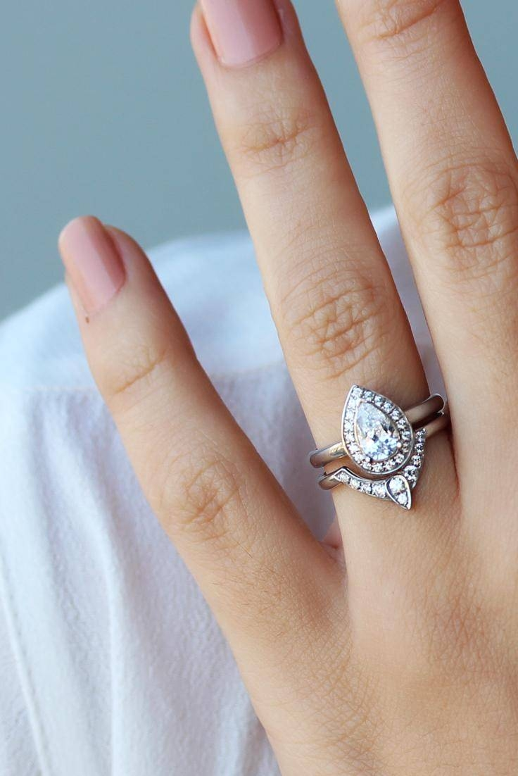 Pear Shaped Diamond Engagement Ring With Matching Side Diamond Within Wedding Band For Pear Shaped Engagement Rings (Gallery 2 of 15)