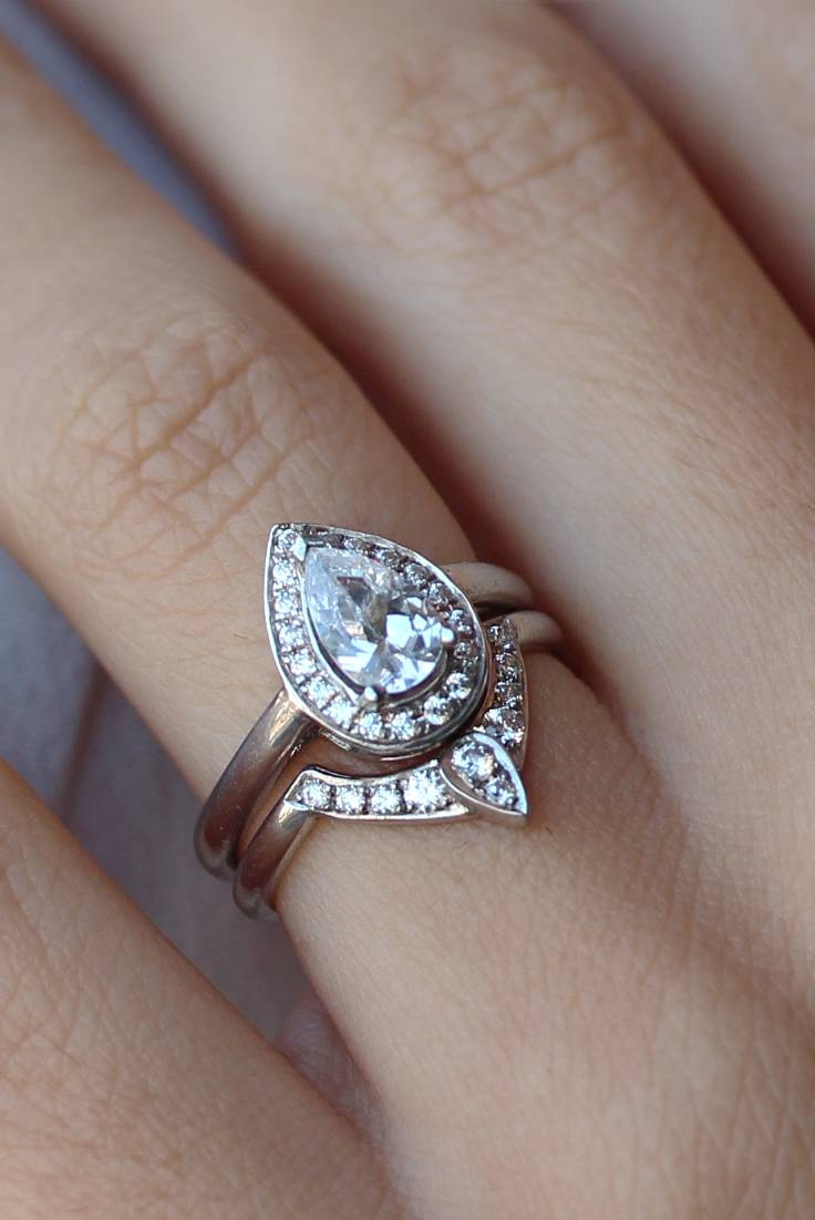 Pear Shaped Diamond Engagement Ring With Matching Side Throughout Pear Shaped Engagement Rings And Wedding Bands (View 10 of 15)