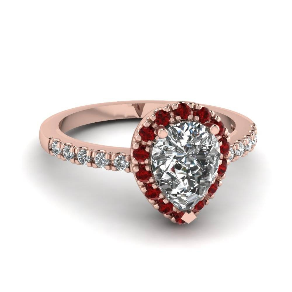 Pear Shaped Diamond Engagement Ring With Red Ruby In 18K Rose Gold Pertaining To Ruby Diamond Wedding Rings (View 7 of 15)