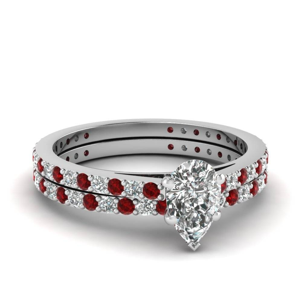 Pear Shaped Diamond Wedding Ring Set With Red Ruby In 14K White Intended For Engagement Wedding Rings Sets (View 10 of 15)