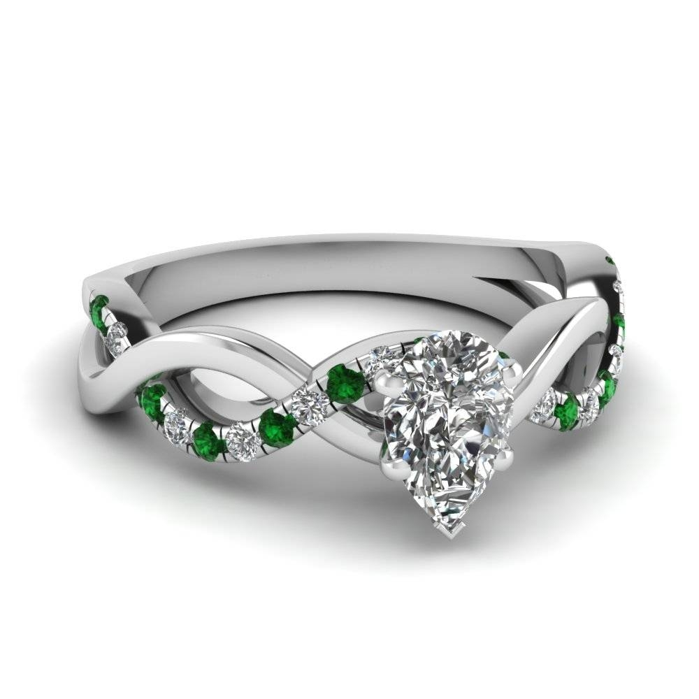 Pear Shaped Infinity Diamond Ring With Emerald In 14K White Gold For White Gold Emerald Engagement Rings (Gallery 1 of 15)