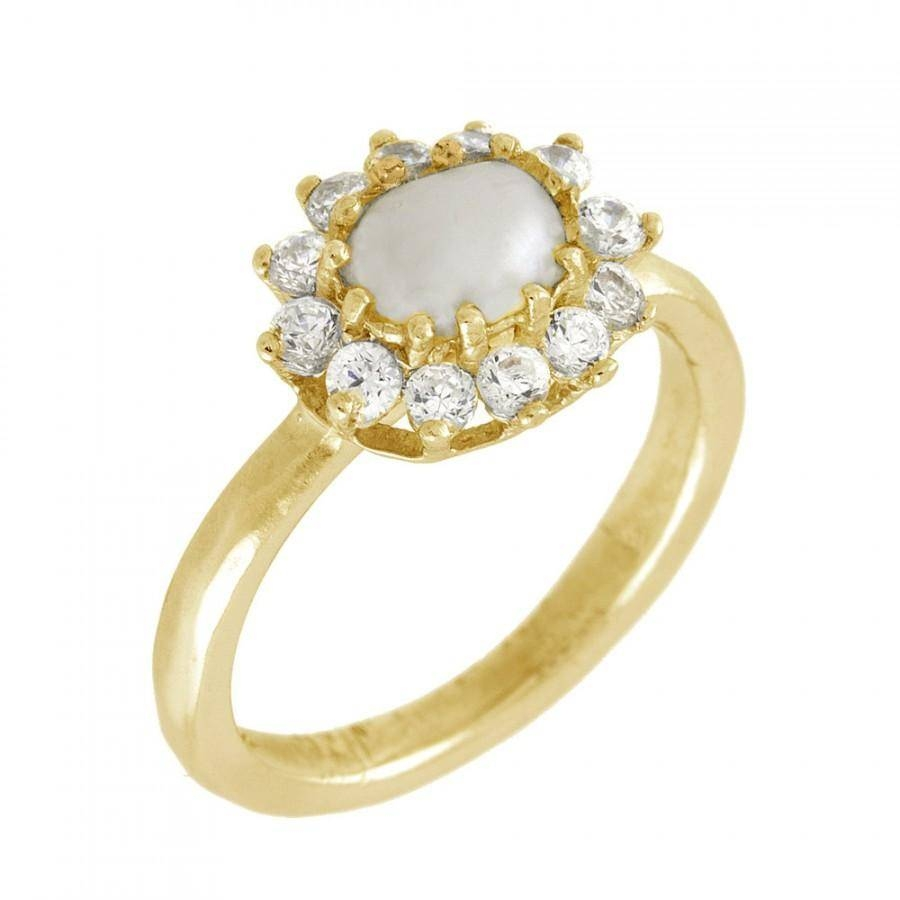 Pearl And Diamond Flower Engagement Ring, 14K Gold Pearl Ring Intended For June Birthstone Engagement Rings (Gallery 14 of 15)