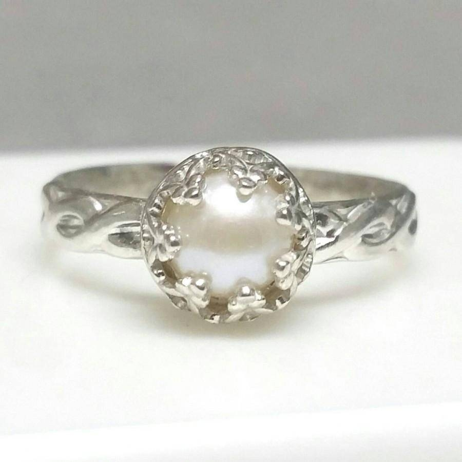 Pearl Ring, Sterling Silver Pearl Ring, Celtic Band, Non With Regard To June Birthstone Engagement Rings (Gallery 4 of 15)